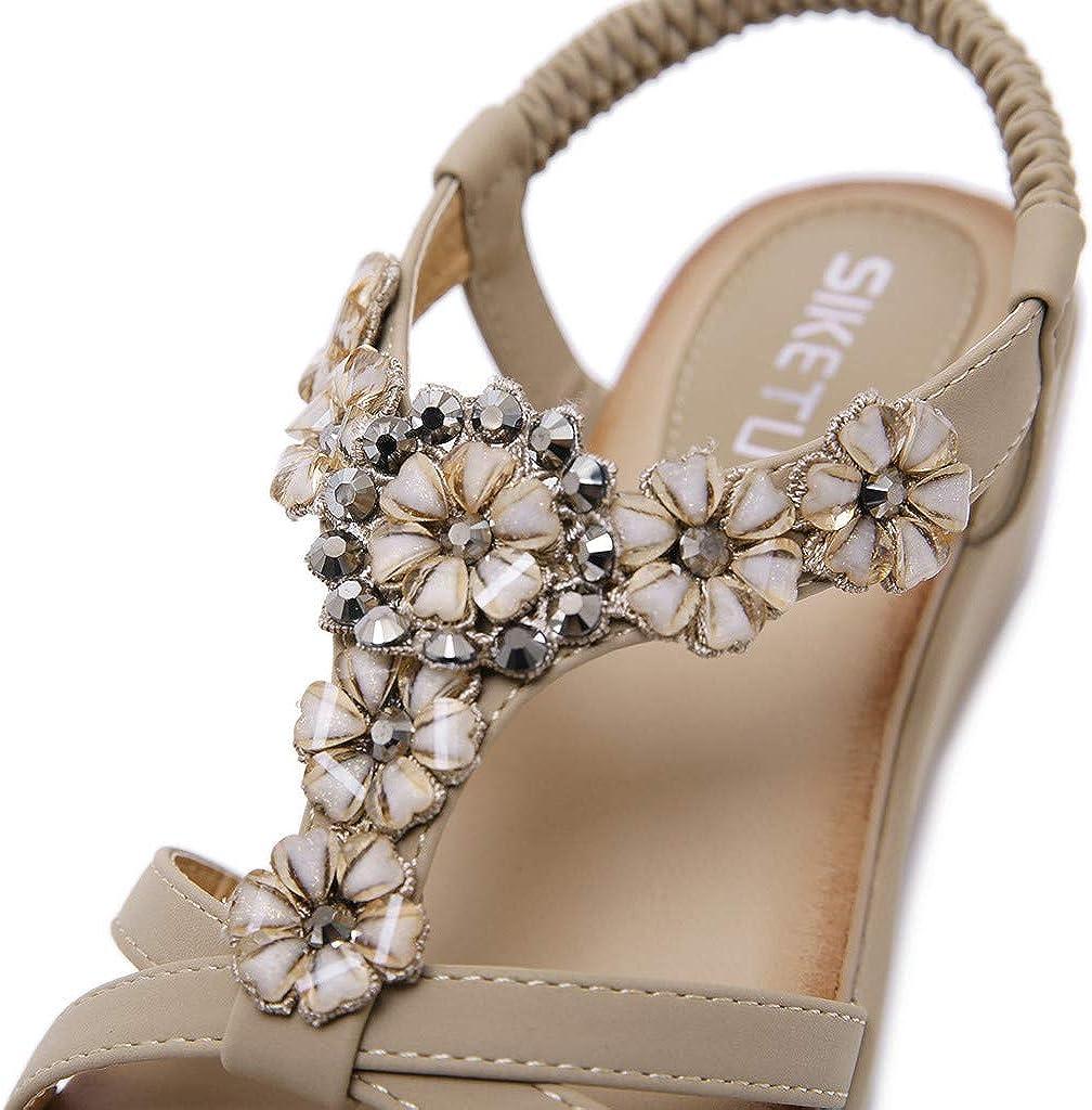 OHQ Sandales Femmes Plates Madame Style BohéMien Fleur