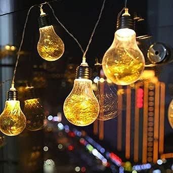 Bombilla Luces al AireLibre, EONHUAYU 20 LEDs Claro Bombilla Globo Hadas Luces de Cuerda para Patio, Barras de Café, Jardín Gazebos Patio Trasero Dormitorio Pergola Paraguas Cena de Boda: Amazon.es: Iluminación