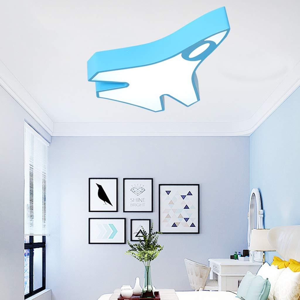 LXX-シーリングライト 子供部屋寝室ランプ人格戦闘機天井ランプクリエイティブ暖かい男の子と女の子の部屋漫画照明 (Color : Blue, サイズ : 55x40cm) 55x40cm Blue B07SGY6YJH