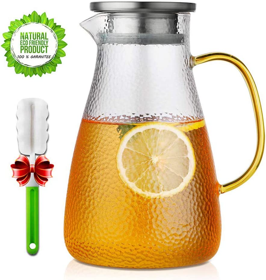 Glass Pitcher, ONEISALL Glass Carafe with Infuser Lid and Anti-Drip Spout, Large Capacity Water Pitcher for Beverage/Ice Tea/Milk/Coffee/Serving Wine - 60 Ounce/1.8 Liter