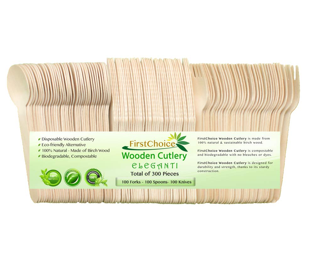 FirstChoice EcoNaturals Eleganti Disposable Wooden Cutlery Sets 300 Piece Total: 100 Forks, 100 Spoons, 100 Knives, 6'' Length Eco Friendly Biodegradable Compostable Wooden Utensils Wooden Cutlery by FirstChoice EcoNaturals