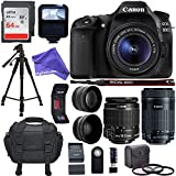 Canon EOS 80D Digital SLR Kit w/ EF-S 18-55mm f/3.5-5.6 Image Stabilization STM & Canon EF-S 55-250mm Lens + .43x Super Wide Angle & 2.2X HD Telephoto Lens + Memory Cards + DigitalAndMore PRO Bundle