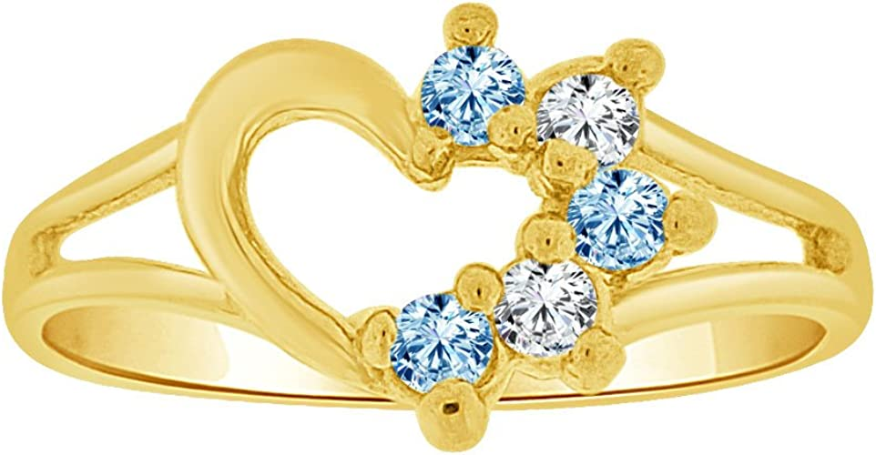 14k Yellow Gold Small Size Ring Created CZs Heart Children /& Adult Pinky
