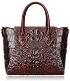 Pijushi Embossed Crocodile Handbags Designer Purses Top Handle Shoulder Bag (6082 Brown)