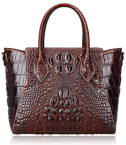 Pijushi Embossed Crocodile Handbags Designer Purses Top Handle Shoulder Bag (6082 Brown) by PIJUSHI