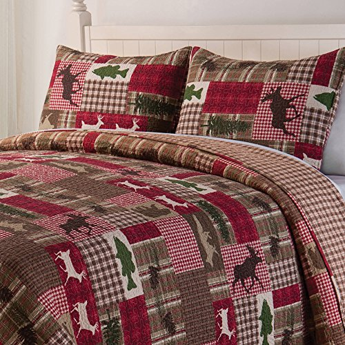 D&A 2 Piece Brown Red Plaid Twin Quilt Set, Lodge Animal Print Themed Bedding, Cabin Country Sqaures Tartan Lumberjack Pattern Cottage Woods Hunting Deer Moose Evergreen Tree Rugby Stripes, Cotton by D&A