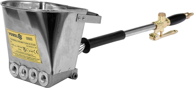 stabile Ausf/ührung 1-Hand Bedienung Volumen: 4 Liter Putzpistole Verputzmaschine Vorel Edelstahl Druckluft Putzwerfer mit 4 D/üsen und Lanze