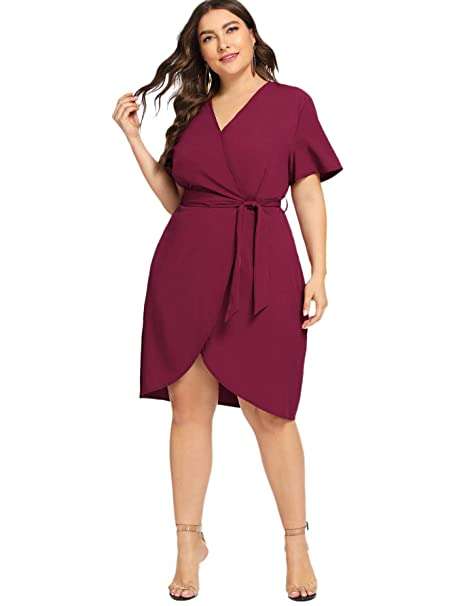 07297fbf13 Milumia Women's Plus Size Short Sleeve Casual Wrap V Neck Belted Curved Hem Surplice  Dress Burgundy