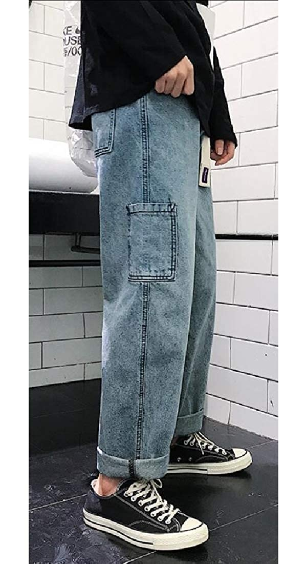 GAGA Mens Straight Fit Hipster Loose Jeans Solid Denim Pants