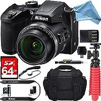 Nikon COOLPIX B500 16MP 40x Optical Zoom Digital Camera w/ Built-in Wi-Fi NFC & Bluetooth (Black) + 64GB SDXC & DigitalAndMore Free Accessory Bundle + Microfiber Cloth