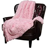 "Mydio Super Soft Shaggy Longfur Throw Blanket | Pink Snuggly Fuzzy Faux Fur Lightweight Warm Elegant Cozy Plush Sherpa Fleece Microfiber Blanket | for Couch Bed Chair Photo Props - 51""x 63"""