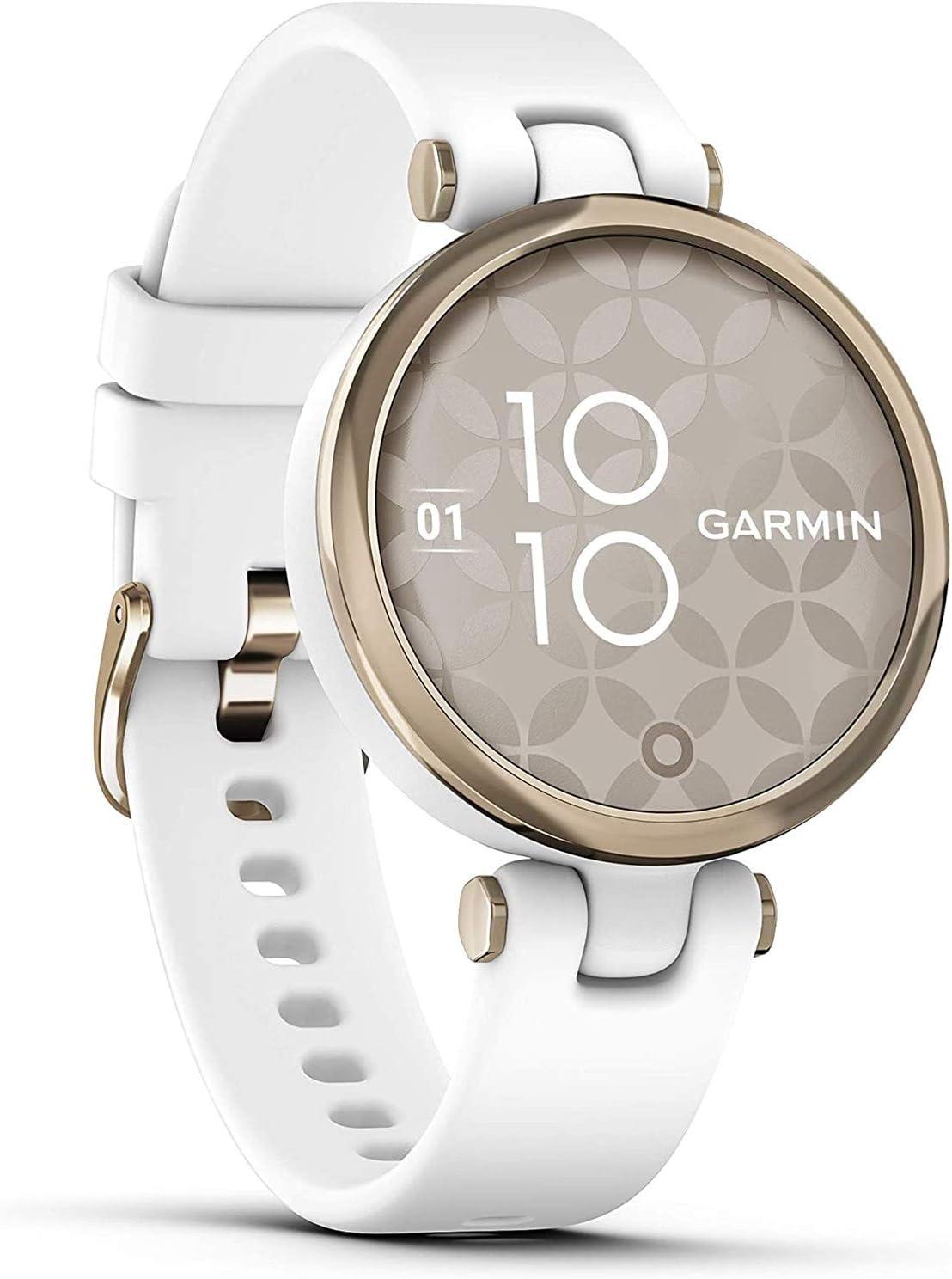 Garmin Lily édition sport - White/Cream Gold avec bracelet blanc