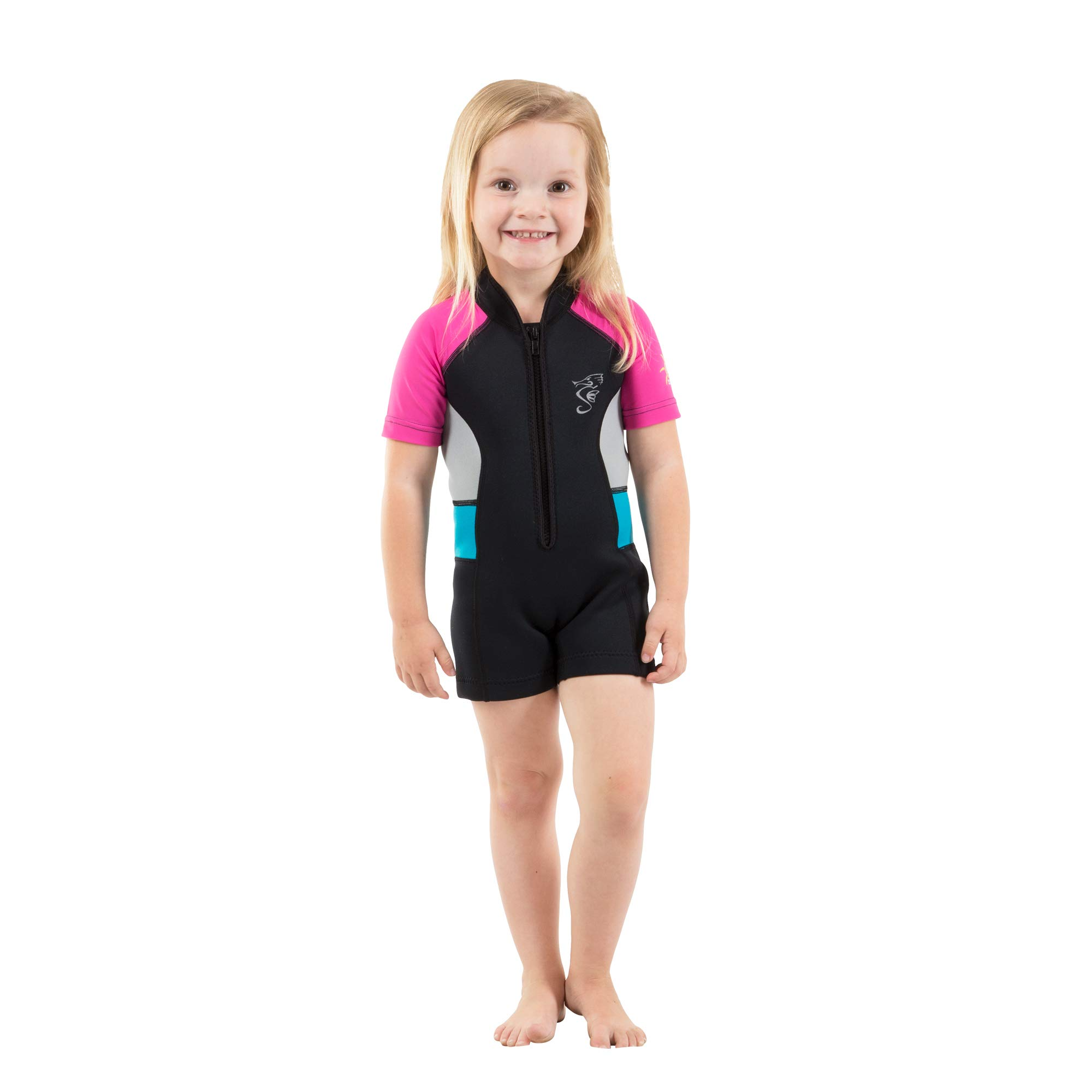 Seavenger Cadet 2mm Kids Shorty | Child Neoprene Wetsuit for Snorkeling, Surfing and Swimming (Hot Pink, 6/6X) by Seavenger