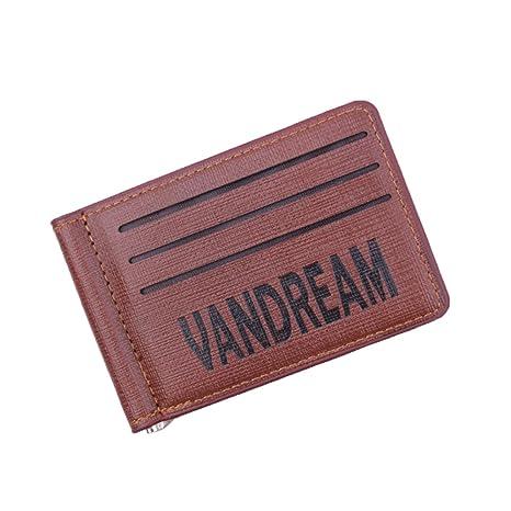 ESAILQ Billetera Mágica Efectivo Cartera Identificación Tarjetas Crédito Pequeñas Monedero para Hombre C (Café)
