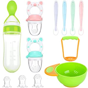 11 Pieces Baby Food Feeder Teething Pacifiers Mash and Serving Bowl Silicone Food Dispensing Spoon with 4 Soft-Edge Silicone Baby Spoons for Toddler Baby First Stage Feeding Set