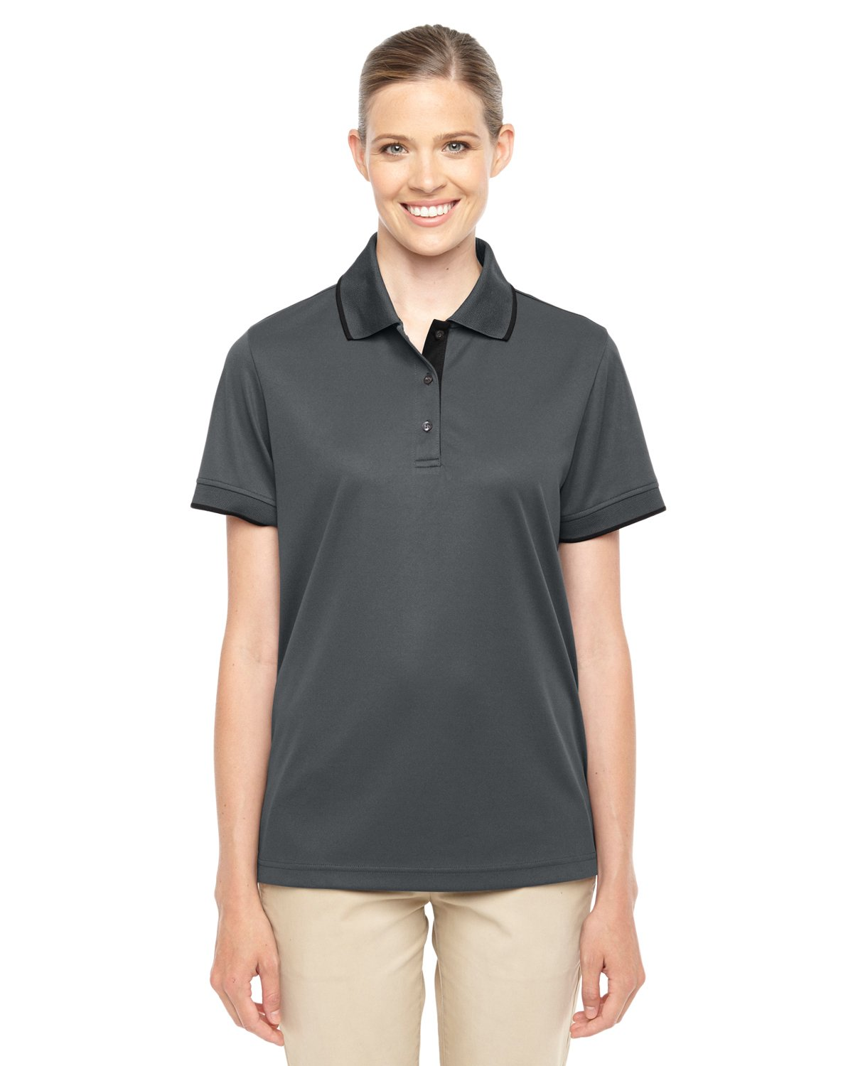 Ash City Core 365 Ladies Motive Performance Pique Polo with Tipped Collar (X-Small, Carbon/Black)