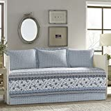 Blue, Grey and White 5 Pieces Printed Quilted Daybed Set Made From Cotton, Paisley, Coastal and Stripe Pattern Classic Style Included Cross Scented Candle Tart