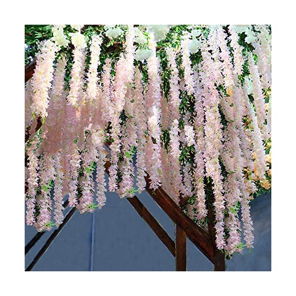 XYXCMOR Artificial Flowers 4 FT Fake Silk Wisteria Hanging Garland Vines Faux Plants for for Outdoor Wedding Ceremony Arch Party Bridal Shower Decor (Pink) 2pcs
