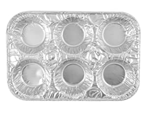 20-Pack Muffin Pans Disposable Aluminum Foil 6-Cup Standard Size Tin for Baking Cupcakes, Mini Pies and Quiche, Souffle