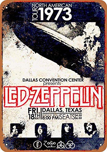 Led Zeppelin in Dallas Tin Wall Signs Retro Iron Painting Metal Poster Warning Plaque Art Decor for Garage Home Garden Store Bar Café