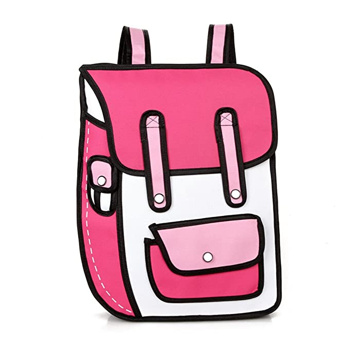 Amazon.com: Nuobo 3D Drawing Paper Backpack School Bag Comic Vintage Backpack Laptop Bag for Teenagers (Rose red): Toys & Games