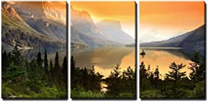 "wall26 - 3 Piece Canvas Wall Art - Wild Goose Island on Saint Mary Lake in Glacier National Park, Montana - Home Decor - Ready to Hang - 16""x24"" in"