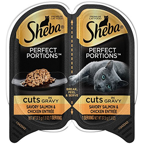 Sheba Perfect Portions Wet Cat Food Cuts In Gravy Savory Salmon & Chicken Entrée, (24) 2.6 Oz. Twin-Pack Trays