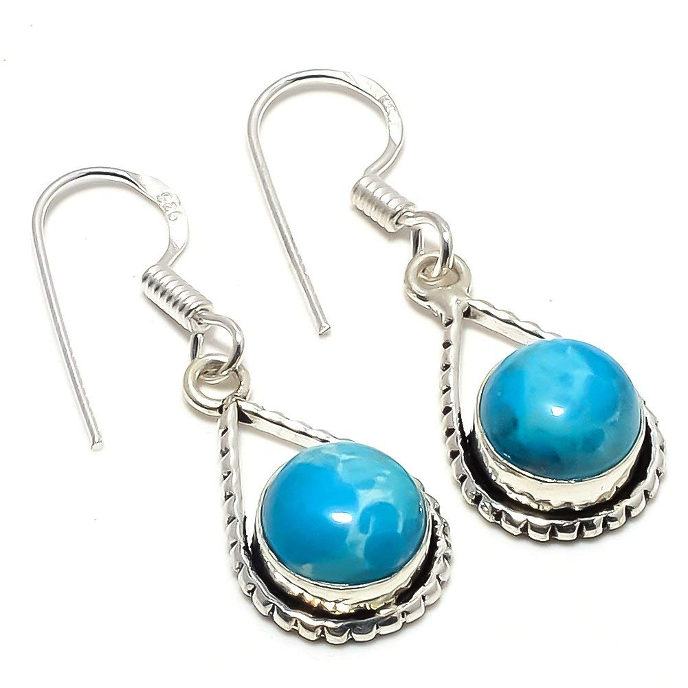 Blue Dyed Larimar Silver Plated 6 Grams Earring 1.5 Long Handmade Jewellry Designer
