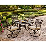 Hanover TRADITIONS5PCSW Traditions 5-Piece Deep-Cushioned Swivel-Rocker Outdoor Dining Set, Includes 4 Deep Cushioned Swivel-Rockers and 48-Inch Round Dining Table For Sale