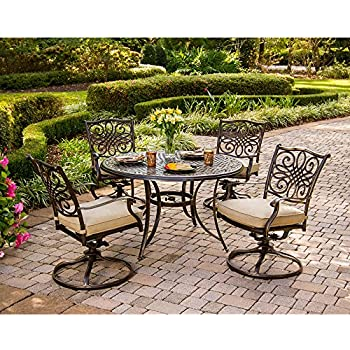 97e0ad7b992 Hanover TRADITIONS5PCSW Traditions 5-Piece Deep-Cushioned Swivel-Rocker Dining  Set Outdoor Furniture