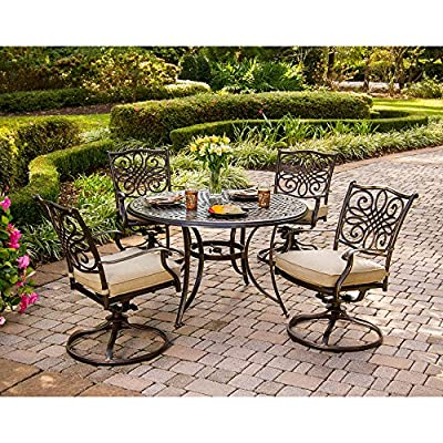 "Hanover Traditions 5-Piece Cast Aluminum Outdoor Patio Dining Set, 4 Swivel Rocker Chairs and 48"" Round Table, Brushed Bronze Finish with Tan Cushions, Rust-Resistant, TRADITIONS5PCSW - SET INCLUDES: Four outdoor swivel chairs and a 48-inch round dining table Heavy duty rust-resistant Frames: durable all-weather construction with rust-resistant aluminum frames Generous cushion size: 2. 5"" Uv protected cushions offer maximum comfort - patio-furniture, dining-sets-patio-funiture, patio - 61sr%2BOIWiLL. SS400  -"