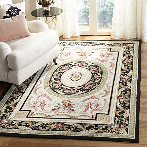 Safavieh Chelsea Collection HK72B Hand-Hooked Ivory and Black Premium Wool Area Rug 7'9″ x 9'9″