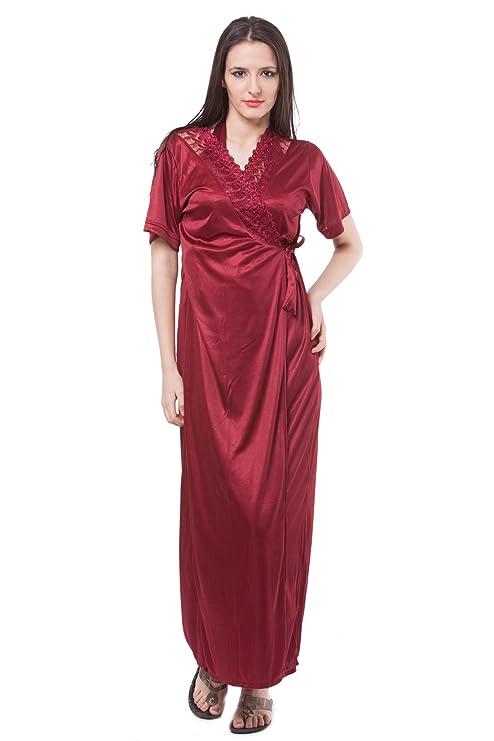 b6d6de3b49 ... buy online eec68 84354 Fasense Satin Nightwear 2 PCs Set of Nighty Robe  Amazon.in  online store ...