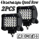 LED Pod Lights,4Inch 2PCS 144W LED Light Pods Spot Beam Work Light Bar LED Flood Light Quad Row Cube Driving Fog Lights for Jeep Off-road Truck Boat ATV SUV(4In-144w)