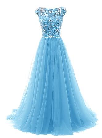 JudyBridal Women Long Beads Prom Dress Tulle Cap Sleeves Evening Dress US2 Blue