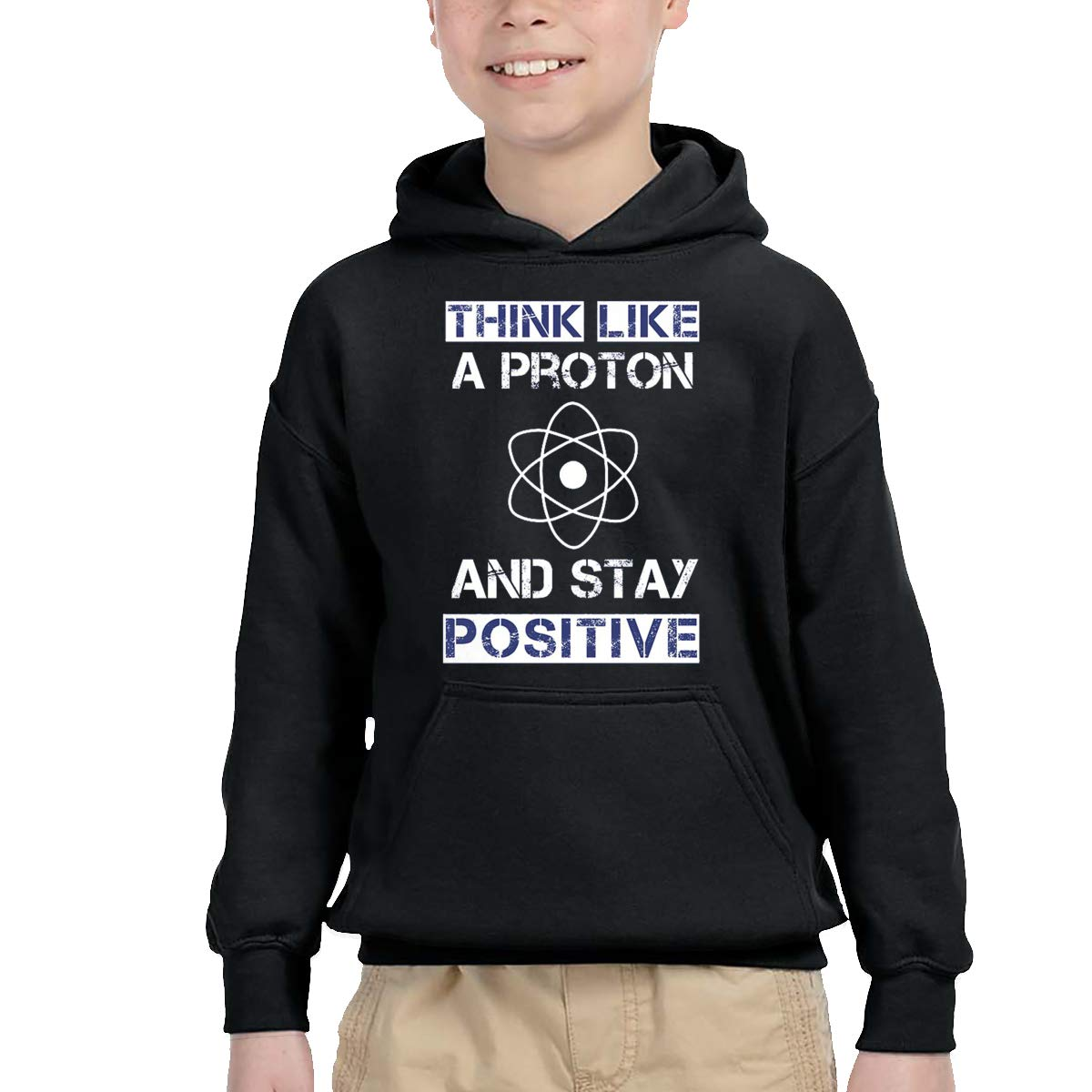 Sakanpo Think Like A Proton and Stay Positive Pullover Hoodie Sweatshirt Teens Hooded for Boys Girls