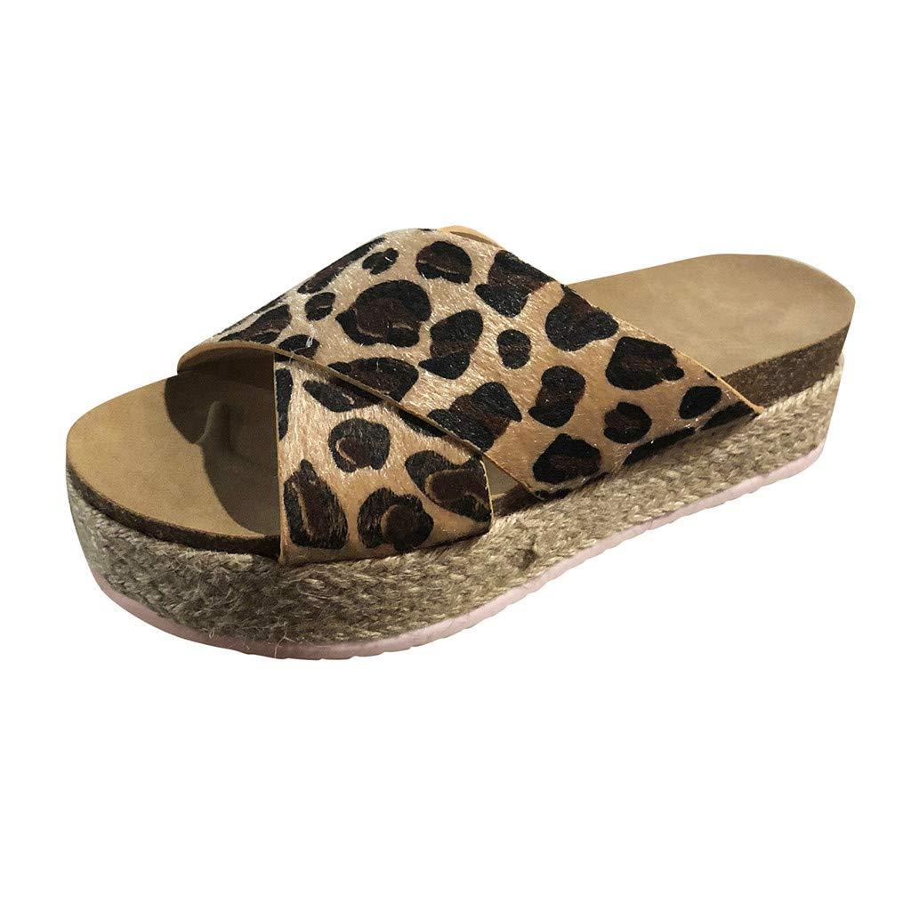 Women Summer Fashion Leopard Platform Sandal Shoes Women's Fashion Casual Thick-Bottom Slides Sandals Platform Beach Shoes Slippers Retro Peep Toe Sandals (43 EU/9 US, Brown)