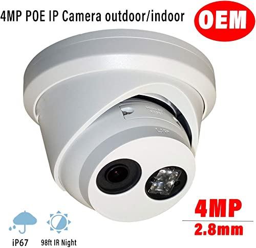 4MP Outdoor PoE IP Dome Camera OEM DS-2CD2343G0-I 2.8mm Turret Network Surveillance Camera CAM-ET04G0-I-2.8mm with SD Card Slot, EXIR 98ft Night Vision, WDR, H.265 , IP67 Waterproof