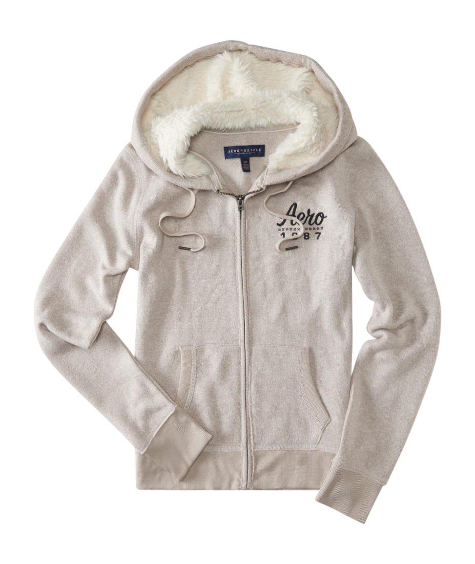 Aeropostale Womens Knit Fleece Fur Hoodie Tan Medium by Aeropostale