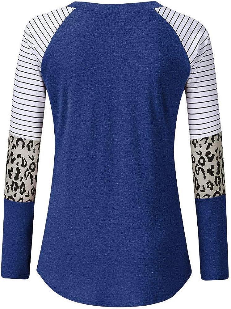 ALISIAM Tops de Moda para Mujer Camiseta con Estampado de Leopardo Camiseta de Media Manga Larga Blusa con Cuello en o Blusa de otoño Invierno Sudadera con Capucha: Amazon.es: Ropa y accesorios