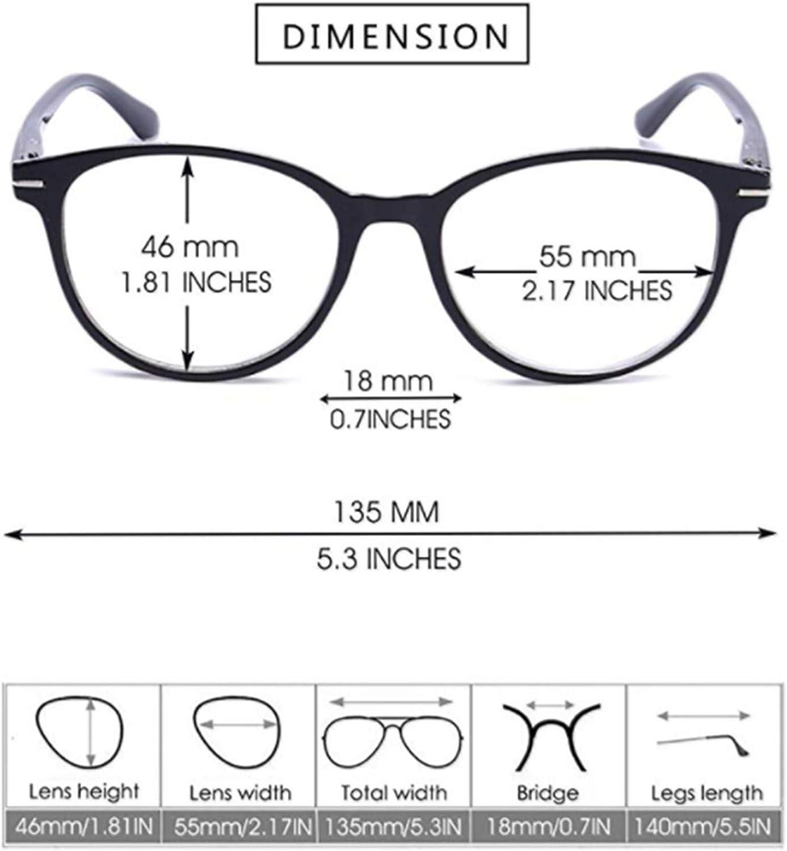 BodyGo Lesebrillen Damen Herren Retro Runde Lesehilfe Sehhilfe Arbeitsplathbrille Nerdbrille Hornbrille mit St/ärke f/ür Damen Herren