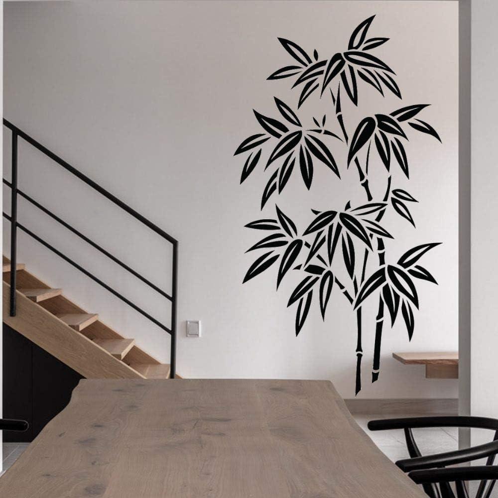 AGjDF Etiqueta engomada de la Hoja de bambú calcomanía de Pared Silueta Arte Naturaleza árboles y Flores hogar Sala de Estar decoración57x98cm