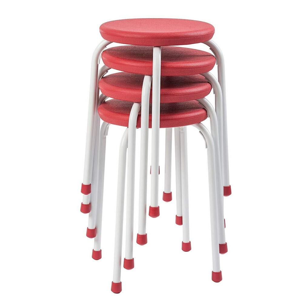 Pearington Kids Multipurpose, Stackable Classroom Plastic School Chair and Stool for Flexible Seating – Commercial Grade Resin and Steel – Fully Assembled – 4 Pack, Red and White