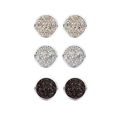 a532f47b0 Buy MissNity Boho Earring Stud Faux Druzy Stone Black Grey White Silver Plated  Round Simple Stone Unique Jewelry Gift for Keen Girls (A05) Online at Low  ...