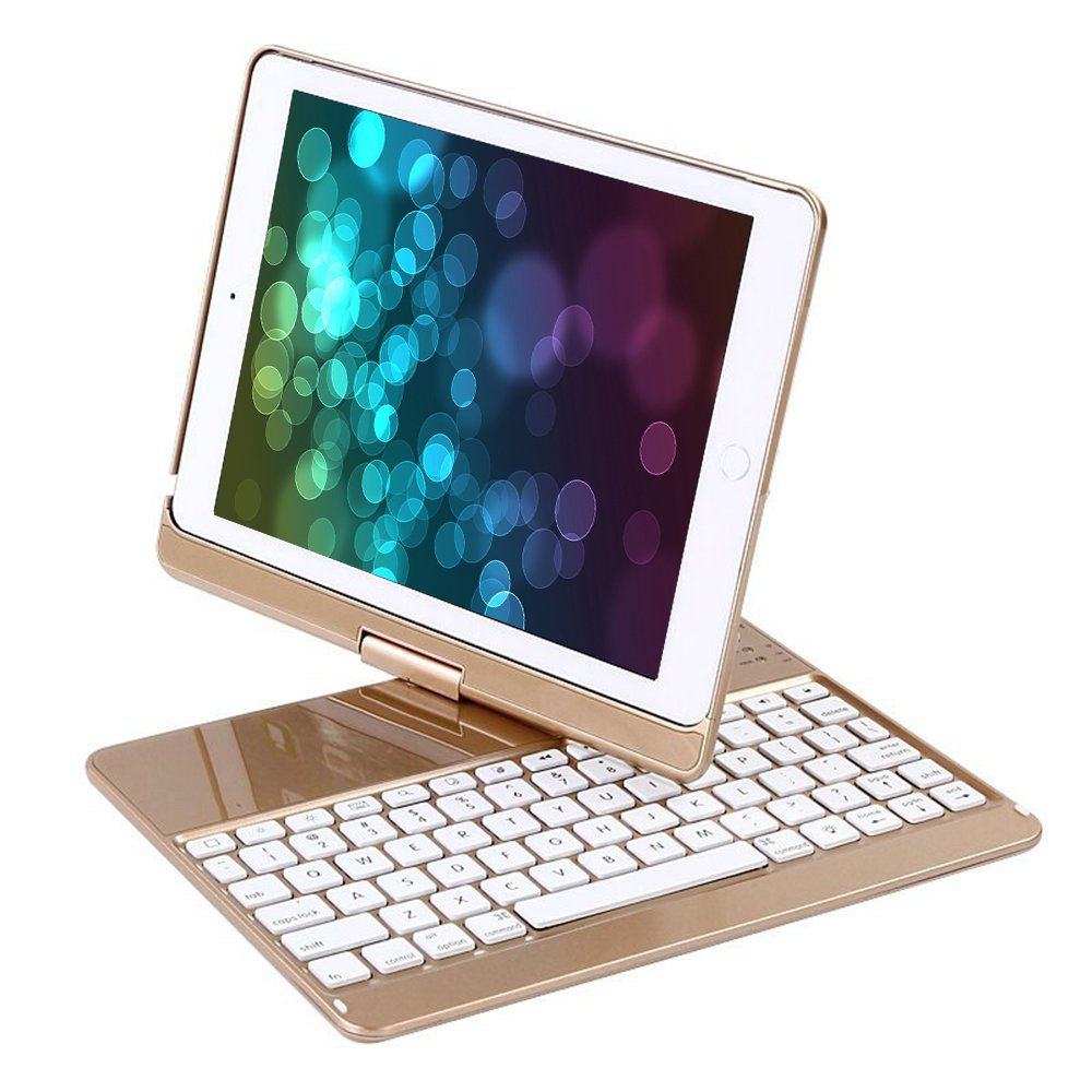 YOUNGFUN iPad Case with Keyboard for 9.7' 2018, 2017 New iPad 9.7/Pro 9.7/Air2/Air, Bluetooth Wireless Keyboard Backlit Tablet Carrying Holder Auto Sleep/Wake Flip Rotate Slim Folio Smart Cover - Black