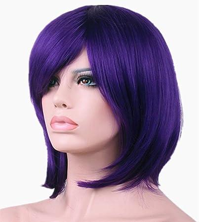 Short Purple Bob Wigs for Women with Oblique Bangs Straight Wigs 11 Inch  BU029PR defd90330