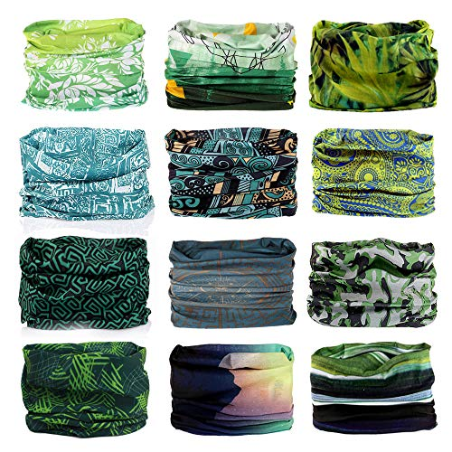 Godspeed Headwear, Headwrap 6-Pack & 12-Pack Headband & Bandanna 16-in-1 Multifunctional Telescopic Seamless Scarf Facemask for Outdoor Leisure Activities (Grassland)