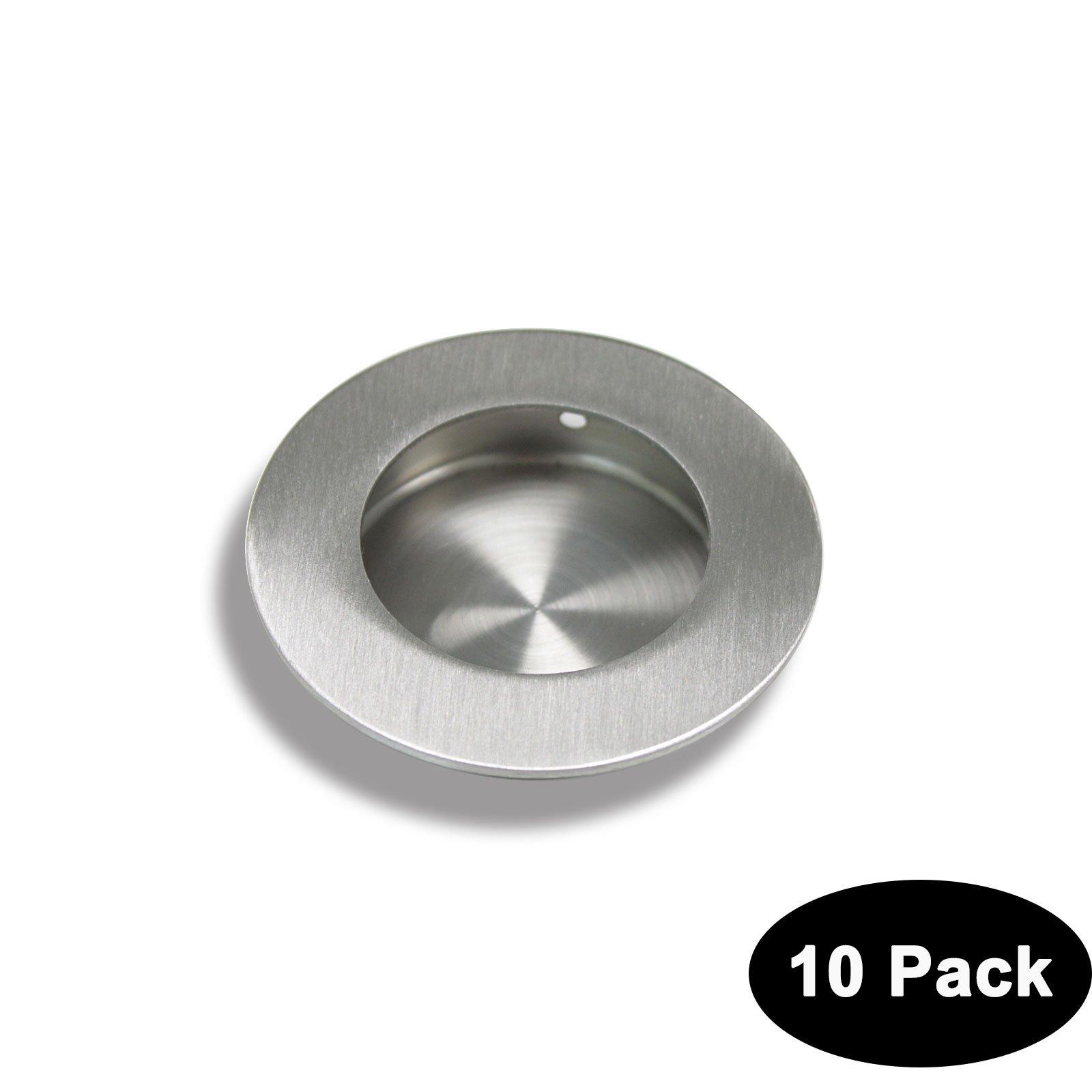 Circular Recessed Sliding Door Handles Round Flush Finger Pulls Diameter:2-1/2 in Stainless Steel 10 Pack