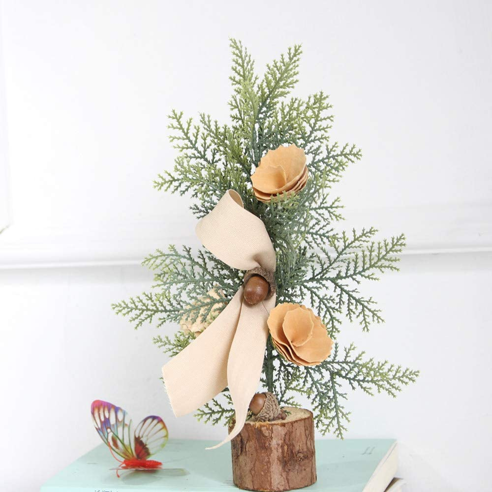 Blustercool Mini Christmas Tree Miniature Christmas Tree Pine Trees Sisal Trees Tabletop Trees with Wood Base for Miniature Scenes Christmas Crafting and Party Home Restaurant Decoration