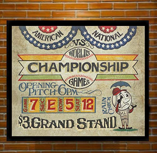 Vintage Baseball World Championship Print from an original hand painted and lettered sign. Boys room Decor, Man-cave, Bar or rec room Decor